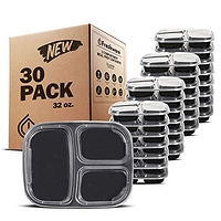 Freshware Meal Prep Containers [30 Pack] 3 Compartment Bento Box, Food Storage Containers with Lids | Stackable | Microwave/Dishwasher/Freezer Safe, Portion Control (32 Ounce)- $8.69