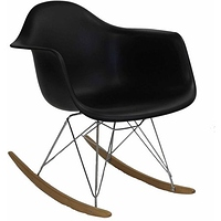 Modway Rocker Mid-Century Modern Molded Plastic Living Room Lounge Chair Rocker in Black- $43.97