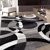 Contemporary Modern Circles Gray Area Rug Abstract 3'3 x 5'3- $14.57