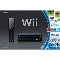 Nintendo Wii Console Black with Wii Sports and Wii Sports Resort- $45.00