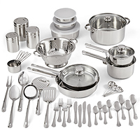 Mainstays Stainless Steel 52-Piece Cookware Combo Set with Kitchen Tools and Flatware at Walmart for $26.37 Online