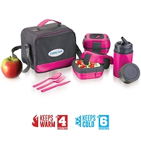 Lunch Box Bag Set for Adults and Kids ~ Pinnacle Insulated Leakproof Thermal Lunch KitLunch BagThermo bottle2 Lunch Containers With NEW Heat Release ValveMatching Cutlery (Pink)- $11.90