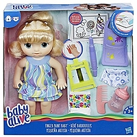 Baby Alive Finger Paint Baby: Blonde Hair Doll, Drinks & Wets, Doll Accessories Includes Art Supplies, Bottle and Diaper, Great Doll for 3-Year-Old Girls & Boys and Up (Amazon Exclusive)- $7.93