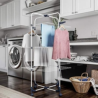 Lavish Home Clothes Rack – 3-Tiered Laundry Station with Collapsible Shelves and Wheels for Folding, Sorting and Air Drying Garments- $17.19
