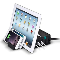 Accell Power Wireless Charge Pad - Qi-Compatible Charging Station with 5 USB Ports 2 AC Outlets 8-Foot Cord and Expandable Stand (Holds up to 3 Devices) Black at Amazon.com for $14.80 Online